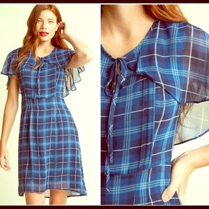 MODCLOTH Blue Chiffon Cape Dress sz XL